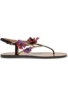 Valentino Garavani Woman Floral-appliquéd Suede And Leather Sandals Black