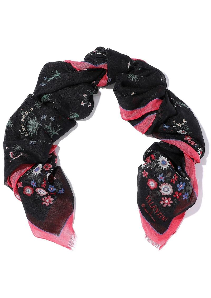 Valentino Garavani Woman Floral-print Silk-twill Scarf Multicolor