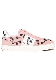 Valentino Garavani Woman Flycrew Bead-embellished Leather And Suede Sneakers Baby Pink