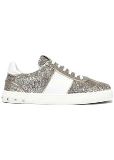 Valentino Garavani Woman Flycrew Glittered Leather Sneakers Gold