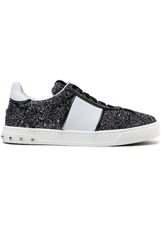 Valentino Garavani Woman Flycrew Paneled Glittered Leather Sneakers Black