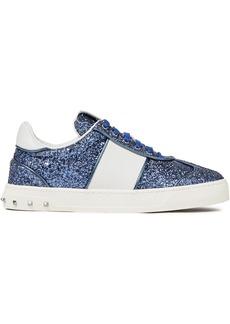 Valentino Garavani Woman Flycrew Studded Glittered Leather Sneakers Cobalt Blue