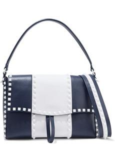 Valentino Garavani Woman Free Rockstud Two-tone Textured-leather Shoulder Bag Navy