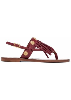 Valentino Garavani Woman Fringe-trimmed Embellished Leather Sandals Burgundy