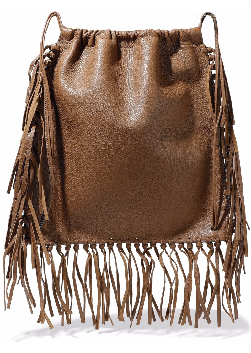 Valentino Garavani Woman Fringed Textured-leather Backpack Light Brown