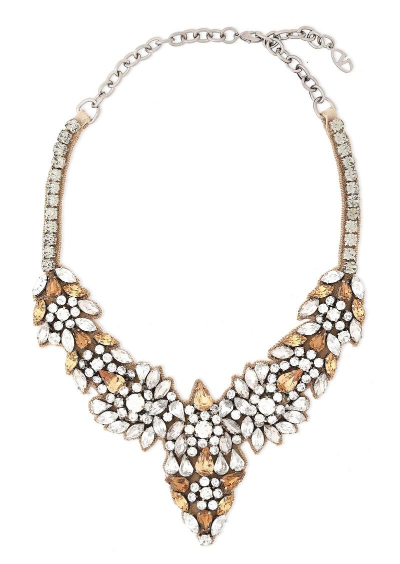Valentino Garavani Woman Glam Flowers Silver-tone Silk-satin And Crystal Necklace Brass