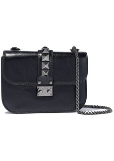 Valentino Garavani Woman Glam Lock Crinkled Glossed-leather Shoulder Bag Black