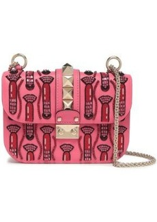Valentino Garavani Woman Glam Lock Embellished Leather Shoulder Bag Bubblegum