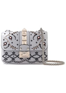 Valentino Garavani Woman Glam Lock Embellished Leather Shoulder Bag Light Gray