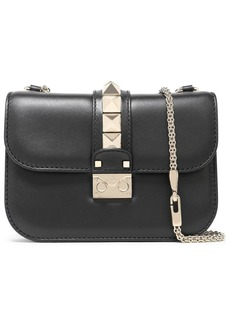 Valentino Garavani Woman Glam Lock Small Leather Shoulder Bag Black