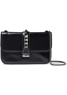 Valentino Garavani Woman Glam Lock Studded Textured-leather Shoulder Bag Black