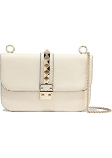 Valentino Garavani Woman Glam Lock Studded Textured-leather Shoulder Bag Cream