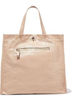 Valentino Garavani Woman Glossed Textured-leather Tote Sand