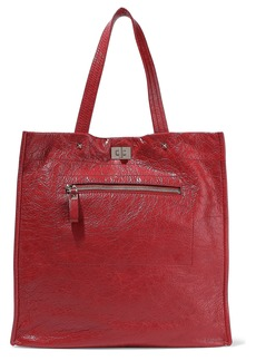 Valentino Garavani Woman Glossed Textured-leather Tote Crimson
