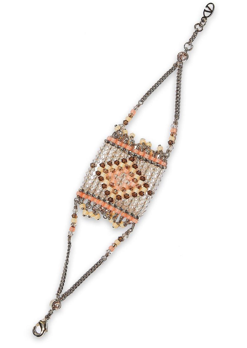 Valentino Garavani Woman Gold-tone Beaded Bracelet Peach
