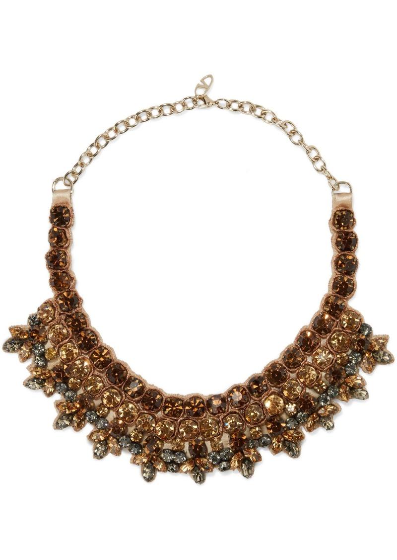 Valentino Garavani Woman Gold-tone Crystal And Satin Necklace Multicolor