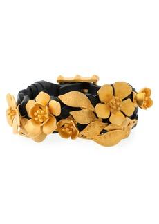 Valentino Garavani Woman Gold-tone Floral-appliquéd Leather Bracelet Gold