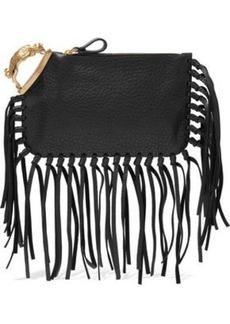 Valentino Garavani Woman Gryphon Fringe-trimmed Textured-leather Clutch Black