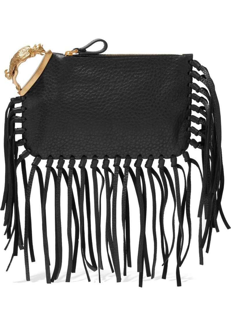 Valentino Garavani Woman Gryphon Fringe-trimmed Textured-leather Clutch Black