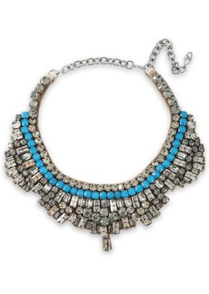 Valentino Garavani Woman Gunmetal-tone Crystal And Satin Necklace Blue