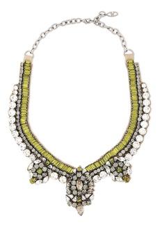 Valentino Garavani Woman Gunmetal-tone Crystal And Satin Necklace Lime Green