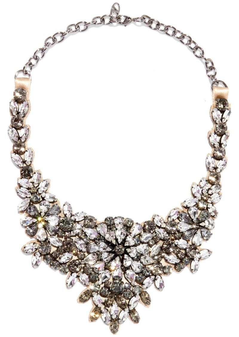 Valentino Garavani Woman Silver-tone Satin And Crystal Necklace Silver