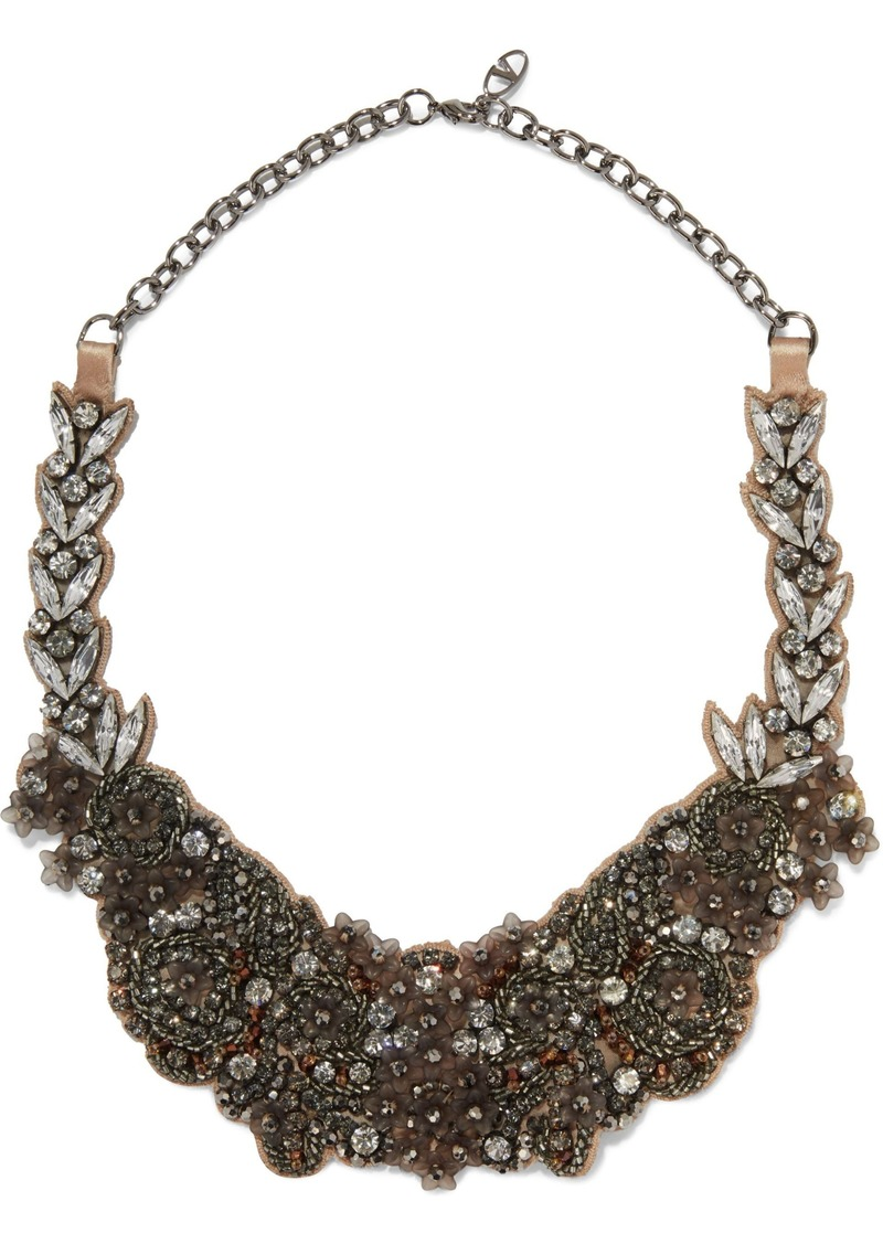 Valentino Garavani Woman Gunmetal-tone Embellished Satin Necklace Anthracite