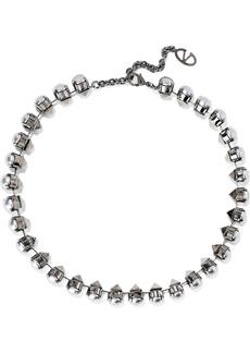 Valentino Garavani Woman Gunmetal-tone Faux Pearl Necklace Gray