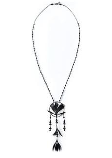Valentino Garavani Woman Gunmetal-tone Feather And Beaded Necklace Black