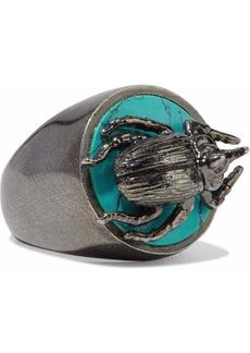 Valentino Garavani Woman Gunmetal-tone Stone Ring Gunmetal