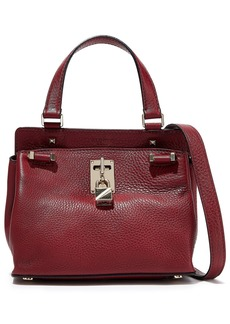 Valentino Garavani Woman Embellished Pebbled-leather Shoulder Bag Claret