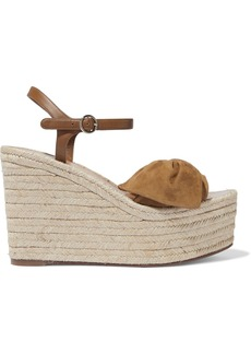 Valentino Garavani Woman Knotted Suede And Leather Wedge Espadrille Sandals Camel