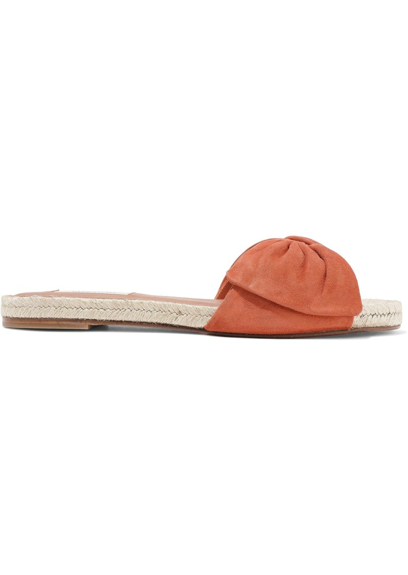 Valentino Garavani Woman Knotted Suede Espadrille Slides Orange