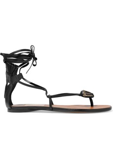 Valentino Garavani Woman Lace-up Embellished Leather Sandals Black