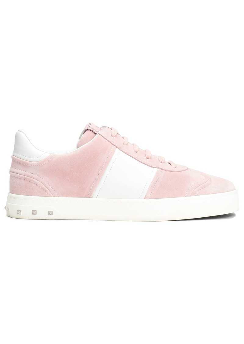 Valentino Garavani Woman Leather-paneled Studded Suede Sneakers Baby Pink