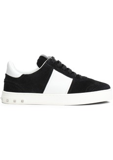 Valentino Garavani Woman Leather-paneled Studded Striped Suede Sneakers Black