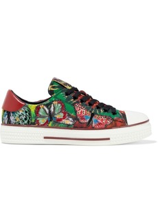 Valentino Garavani Woman Leather-trimmed Embroidered Tie-dyed Canvas Sneakers Green