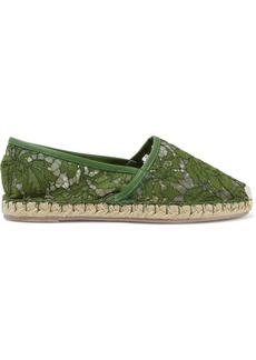 Valentino Garavani Woman Leather-trimmed Corded Lace Espadrilles Army Green