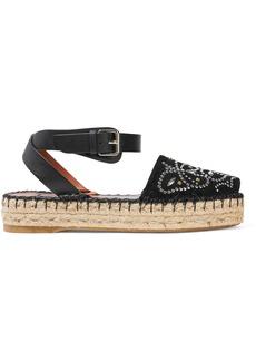Valentino Garavani Woman Leather-trimmed Studded Suede Espadrille Sandals Black