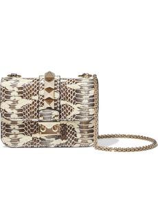 Valentino Garavani Woman Lock Small Glossed Snake-effect Leather Shoulder Bag Animal Print