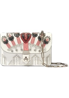 Valentino Garavani Woman Love Blade Embellished Leather Shoulder Bag Off-white