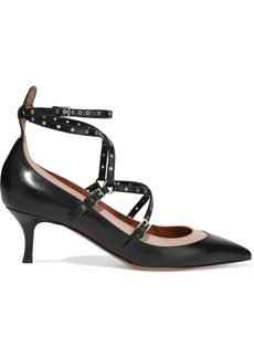 Valentino Garavani Woman Love Latch Eyelet-embellished Leather Pumps Black