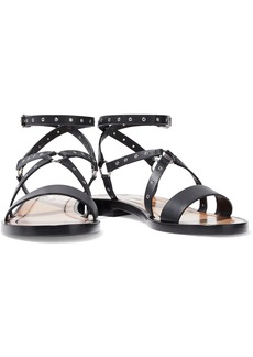Valentino Garavani Woman Love Latch Eyelet-embellished Leather Sandals Black