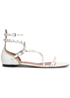 Valentino Garavani Woman Love Latch Eyelet-embellished Leather Sandals Off-white