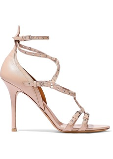 Valentino Garavani Woman Love Latch Eyelet-embellished Leather Sandals Pastel Pink