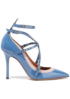 Valentino Garavani Woman Love Latch Eyelet-embellished Patent-leather Pumps Azure