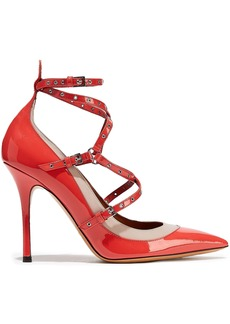 Valentino Garavani Woman Love Latch Eyelet-embellished Patent-leather Pumps Coral