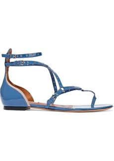 Valentino Garavani Woman Love Latch Eyelet-embellished Patent-leather Sandals Blue