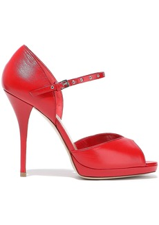 Valentino Garavani Woman Love Latch Leather Platform Pumps Red