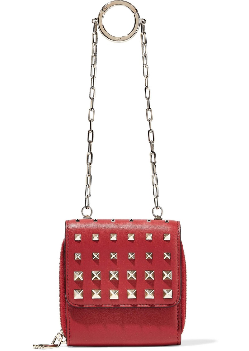 Valentino Garavani Woman Micro Studded Leather Clutch Red